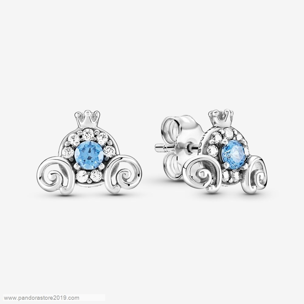 Promo Pandora Disney Cinderella Pumpkin Coach Stud Earrings